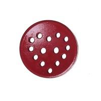 Bouton rond ajouré en Bois, motif coeur, coloris rouge