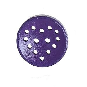 Bouton rond ajouré en Bois, motif coeur, coloris violet