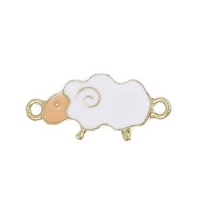 Perle mouton en métal émaillé, lot de 2