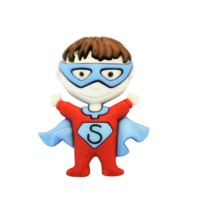Grand Bouton Super Heros cape rouge