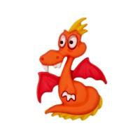 Bouton Dragon rigolo Orange et jaune