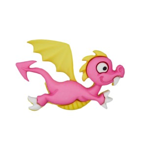 Bouton Dragon rigolo rose et jaune