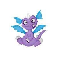 Bouton Dragon rigolo violet et bleu