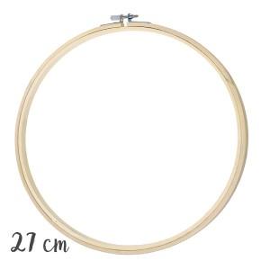 Tambour à broder rond en bois, diamètre interne 27cm
