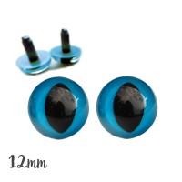 Yeux sécurité bleus 12mm pour peluche, pupille oeil de chat  (4 paires)
