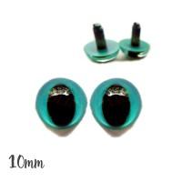 Yeux de chat sécurité bleu-vert 10mm pour peluche (2 paires)