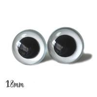 Yeux sécurité transparent 18mm pour peluche, pupille ronde (2 paires)