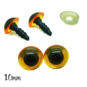 Yeux sécurité fauve 10mm pour peluche (2 paires)