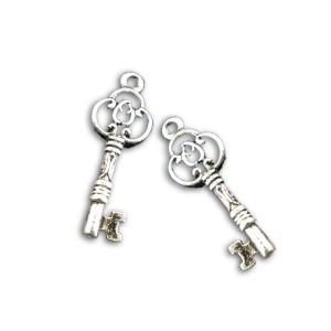 Perle breloque petite clef, coloris argent, lot de 2