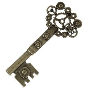 Pendentif Grande clef à engrenages façon steampunk, coloris bronze antique