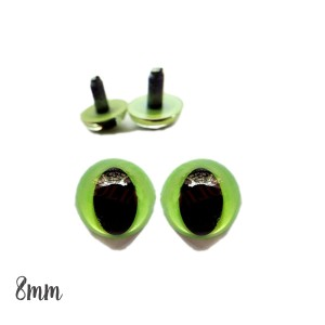 Yeux de chat sécurité vert 8mm pour peluche (2 paires)