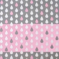 Tissu Weather, gouttes rose et gris, en coton (x 50cm)