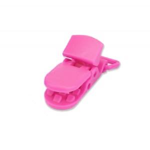 Pince attache Tétine plastique, coloris rose fushia (2 pièces)