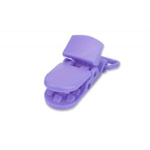 Pince attache Tétine plastique, coloris violine (2 pièces)