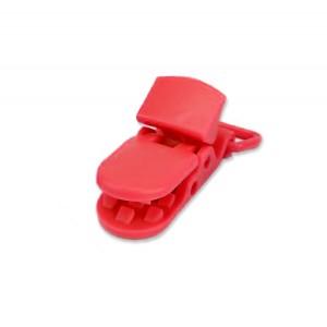Pince attache Tétine plastique, coloris rouge (2 pièces)