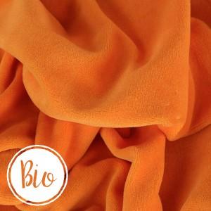 Bio Velours de coton, coloris orange, tissu Nicky très doux (x 50 cm)
