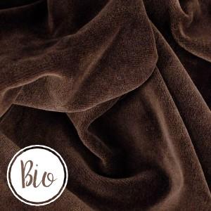 Bio Velours de coton, coloris chocolat, tissu Nicky très doux (x 50 cm)