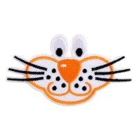 Ecusson thermocollant visage chat orange