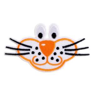Ecusson thermocollant visage chat orange