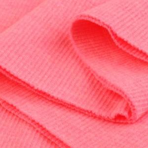 Bord Côte, Jersey tubulaire, coloris rose fluo, coupon de 16x80cm