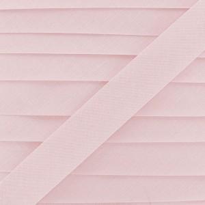 Biais coton rose dragée, pré-plié 20mm, col001