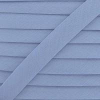 Biais coton bleu ciel, pré-plié 20mm, col003