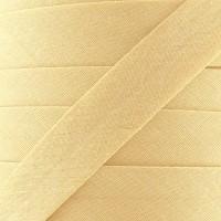 Biais coton vanille moutardée, pré-plié 20mm, col004