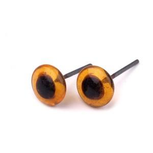 Yeux ambre 8mm en verre pour laine feutrée ou modelage (1 paire)