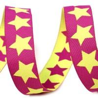 Ruban Etoiles double face, bi-colore, coloris violet et jaune fluo