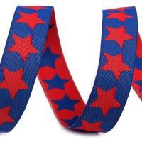Ruban Etoiles double face, bi-colore, coloris bleu et rouge