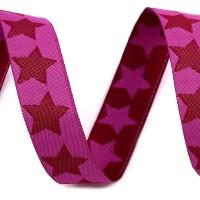 Ruban Etoiles double face, bi-colore, coloris rose/ rose fushia