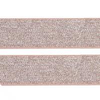 Élastique plat rose pâle argenté lurex, 27 mm