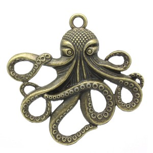 Grand Pendentif Kraken, grand poulpe ou pieuvre, coloris bronze