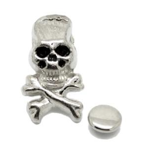 Rivet argenté en forme de tête de mort et os. Lot de 5.