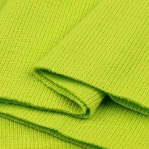 Bord Côte, Jersey tubulaire, coloris vert anis flashy, coupon de 16x80cm