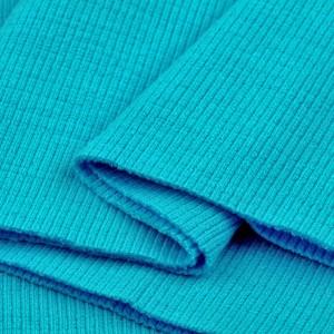 Bord Côte, Jersey tubulaire, coloris bleu turquoise, coupon de 16x80cm