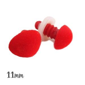 Nez sécurité Velours Rouge, 11 mm pour peluche (lot de 2)