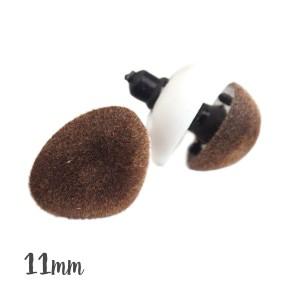 Nez sécurité Velours brun, 11 mm pour peluche (lot de 2)