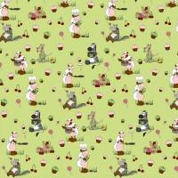 """Jersey bio """"Qui a peur du loup?"""" sur fond vert anis, designer Les Moutons de Kallou (x25cm)"""