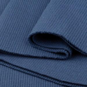 Bord Côte, Jersey tubulaire, coloris bleu jean, coupon de 16x80cm