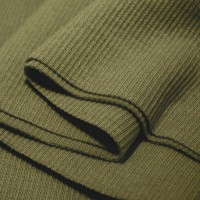 Bord Côte, Jersey tubulaire, coloris vert kaki, coupon de 16x80cm