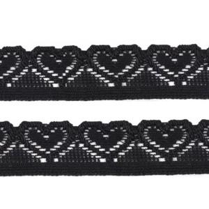 Elastique dentelle, motif coeur, coloris noir, 17mm