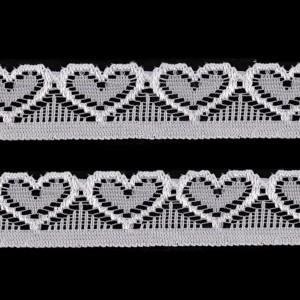 Elastique dentelle, motif coeur, coloris blanc, 17mm