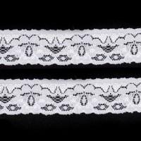 Elastique dentelle, coloris blanc, motif C, 26mm