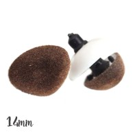 Nez de sécurité Velours brun, 14 mm pour peluche (lot de 2)