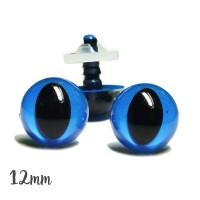 Yeux sécurité bleus 12mm pour peluche, pupille oeil de chat  (2 paires)