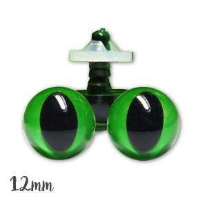 Yeux de sécurité vert 12mm pour peluche, pupille oeil de chat  (2 paires)