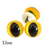 Yeux de sécurité jaune 12mm pour peluche, pupille oeil de chat  (2 paires)