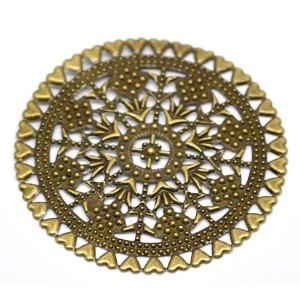 Grande estampe ronde travaillée, coloris bronze