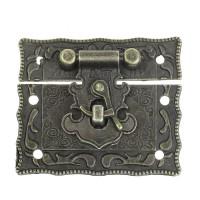 Fermoir rectangulaire serrure pour valise ou boite coloris bronze antique, inspiration chine